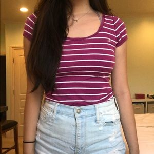 Aeropostale Purple & White Striped Scoopneck Tee